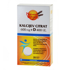 Natural Wealth Kalcijev citrat 600 mg + D 400 i.e.
